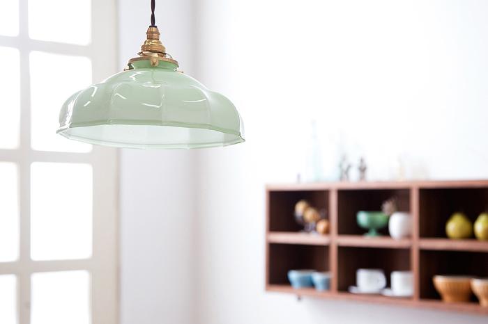 フランスアンティーク ガラスシェード 天井照明