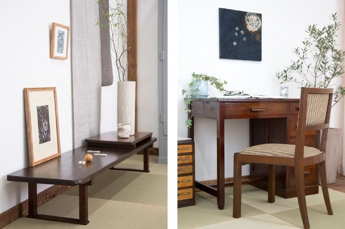 裁ち板 片袖机 椅子 和家具 飾り台 グリーン