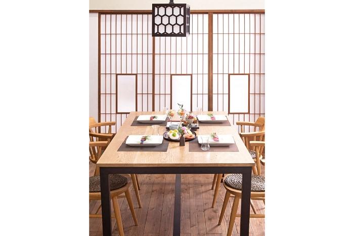 アンティーク障子戸 松本民芸 天井照明 ペイントダイニングテーブル