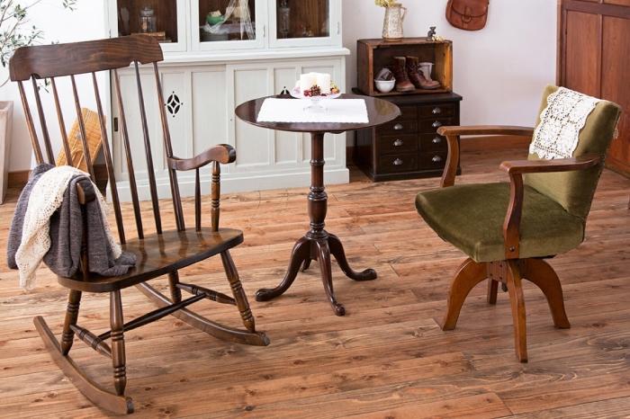 和製アンティーク ロッキングチェア 回転椅子 イギリスアンティークのカフェテーブル