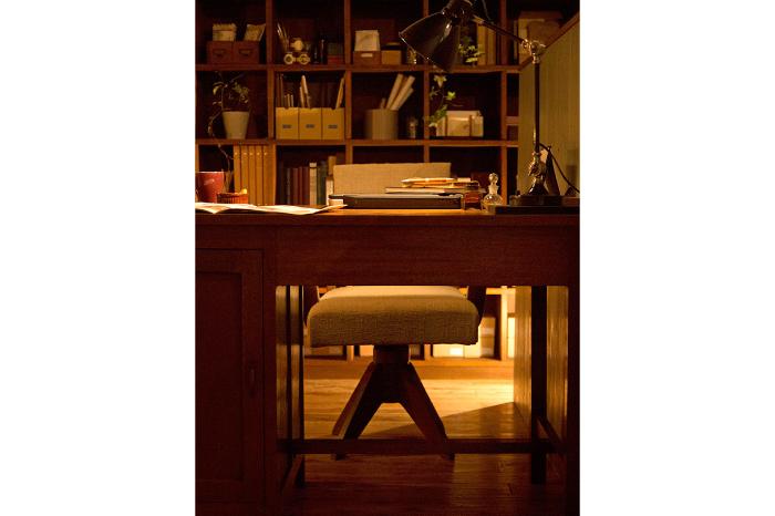 和製アンティーク 回転椅子 マス目棚 片袖机 オフィス