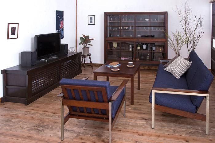 和家具と北欧家具でつくる男のくつろぎリビング 和モダン