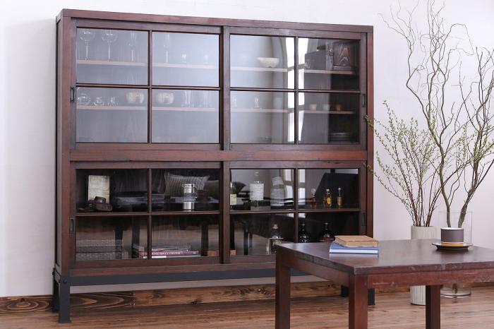 鉄脚ガラス収納棚 センターテーブル 和モダン