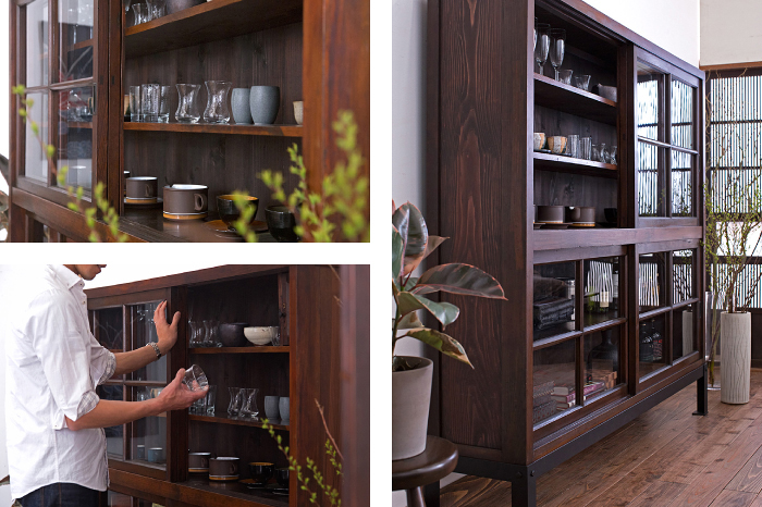和製アンティークの飾り棚 グラス カップ 器 和モダン