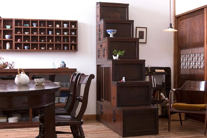 和製アンティーク マス目棚 ダイニングテーブル チェア 階段箪笥 帯戸