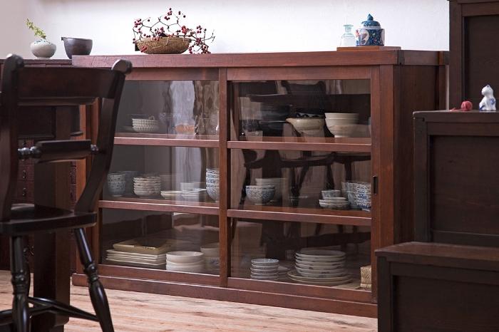 ガラス収納棚 和製アンティーク 食器棚