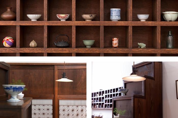 マス目棚 帯戸 階段箪笥 和製アンティーク