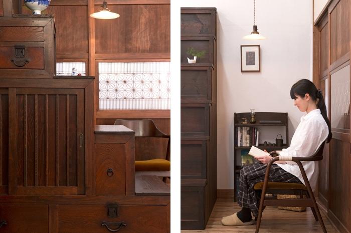 時代和家具 階段箪笥 帯戸 チェア 本棚 読書 天井照明