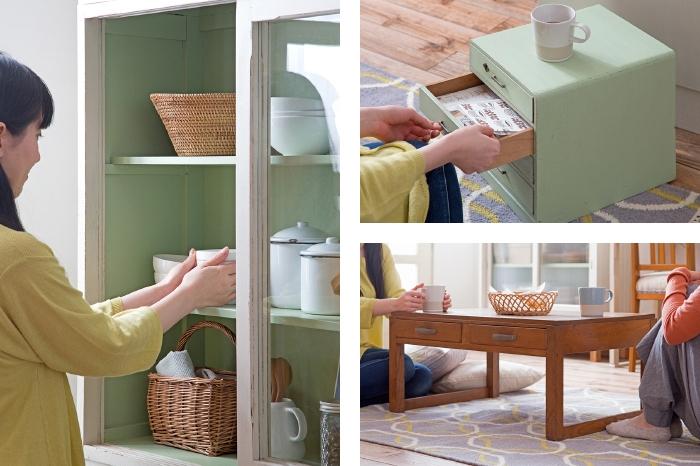 ミントグリーン 食器棚 小引き出し 文机
