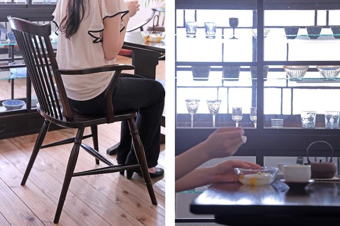 松本民芸家具 ダイニングチェア ガラスケース 和食器