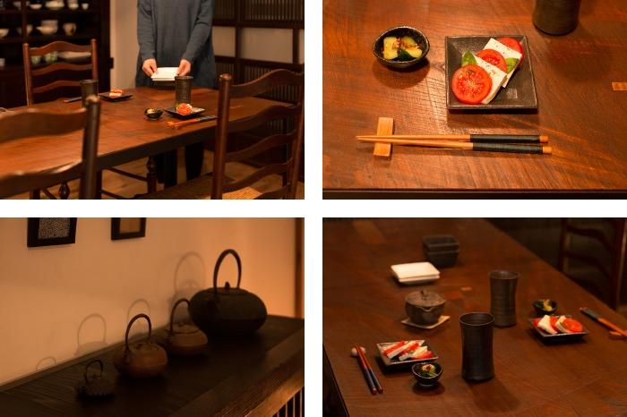 ダイニングテーブル 欅古材 一枚板 鉄瓶