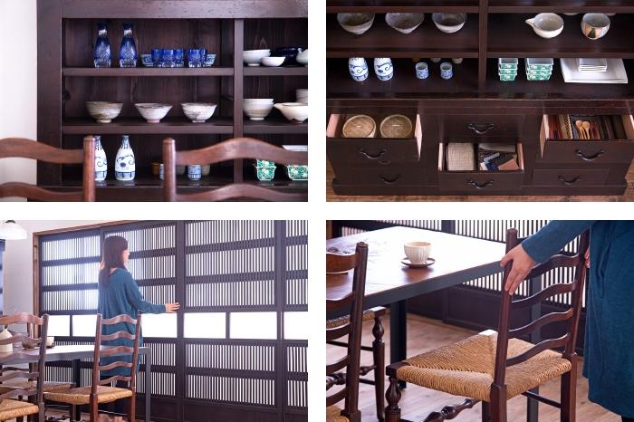 水屋箪笥 食器棚 収納棚 格子戸 イギリスアンティークのペーパーコードチェア