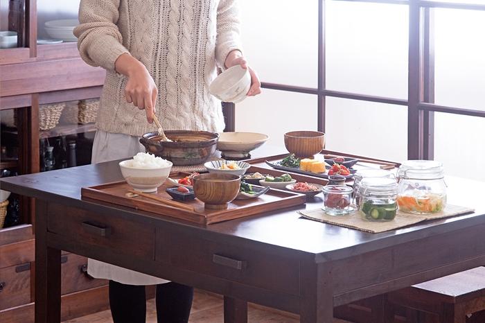ダイニングテーブル 大きな平机 和製アンティーク 料理