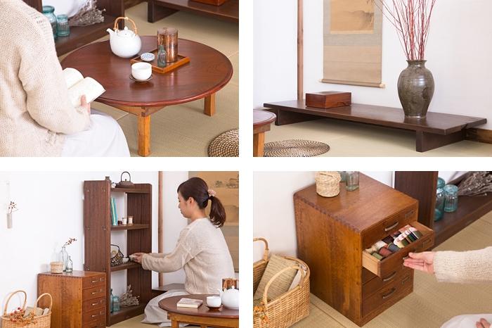和製アンティーク 裁ち板を置き床に 小引き出し 本棚