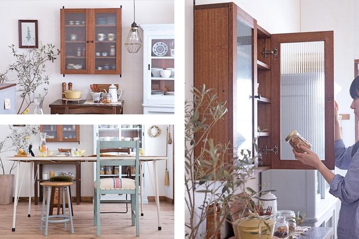 レトロな木味の戸棚 アンティークチェアとスツール
