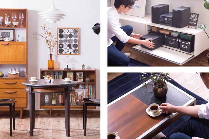 大正ロマンなラウンドテーブルと北欧家具のコーディネート