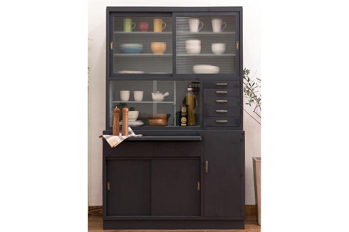食器棚 作業台 ブラック