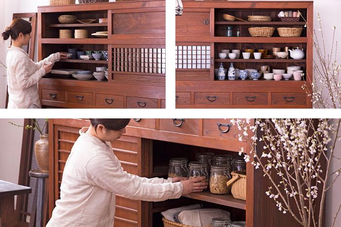 アンティーク食器棚 水屋箪笥 格子引き戸
