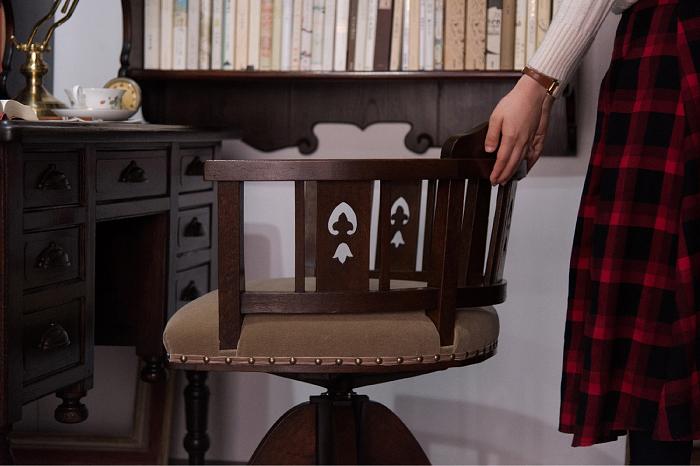 透かし彫り 回転椅子 アンティーク