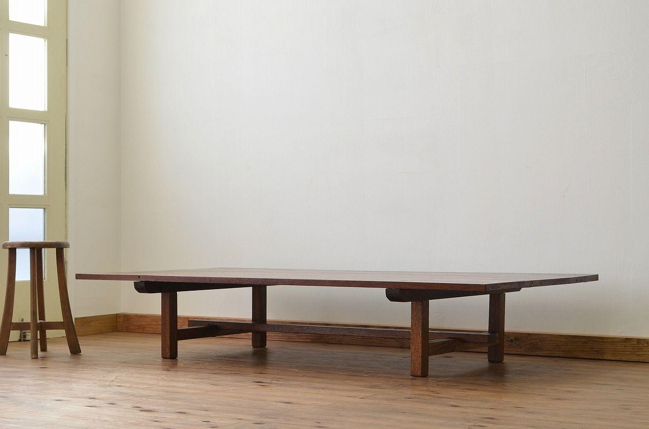 レトロ家具 昭和レトロ 古い木の特大組み立て式テーブル(作業台