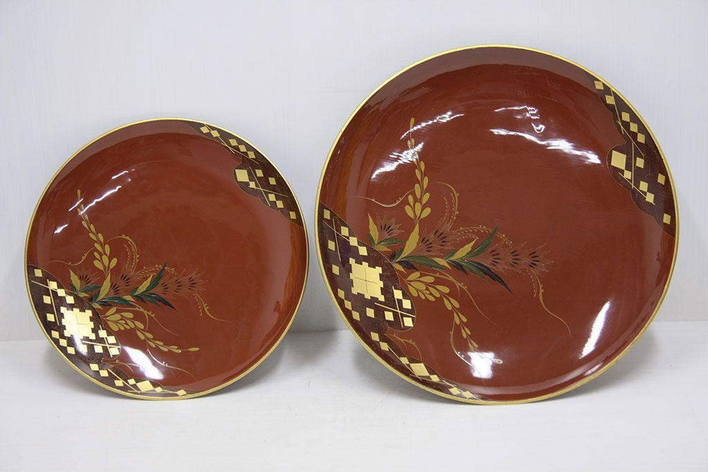 売約済みアンティーク雑貨 大正期!大内塗・古い蒔絵の木製皿3枚(漆器)