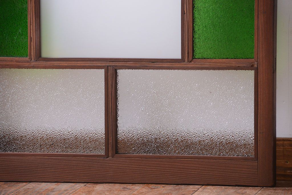 Sold Out大正ロマン 当時物色ガラス入り!アンティークガラス戸2枚セット(窓)(1)