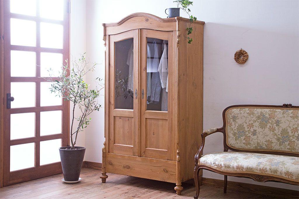 アンティーク家具 フランスアンティーク パイン材の温もり溢れるキャビネット(ワードローブ、収納棚 ...