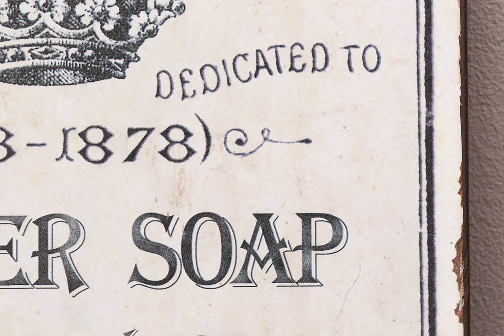 イギリスビンテージ Metal Bathroom Sign or Plaque Advertising Pure Powder Soap 看板(ディスプレイ雑貨)