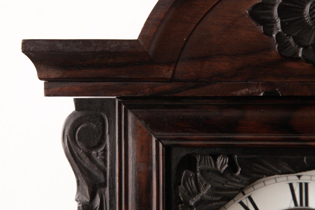売約済みアンティーク雑貨 明治期 JUNGHANS(ユンハンス)社 国産箱 黒柿材 優美さと気品あふれる振り子時計(柱時計、掛け時計)