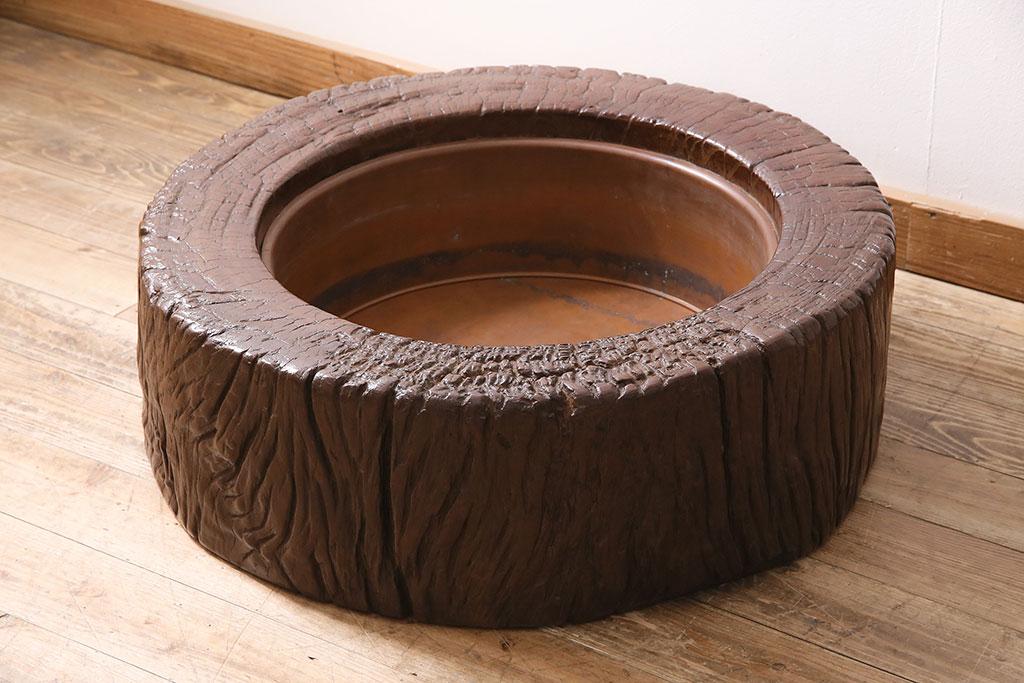 和の部屋の鉢カバーやテーブルに。アンティーク火鉢のインテリア例